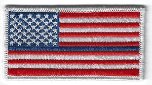 "US Flag with Blue Line White Border 3.5 x 2"" with heat seal"