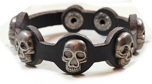 Skull Rivet Black Leather Bracelet 8""