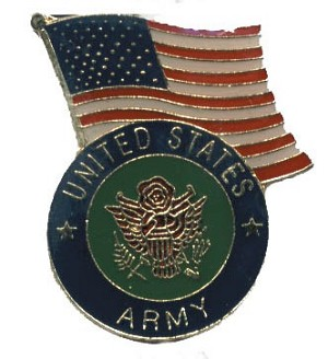 US ARMY WITH AMERICAN FLAG HAT / VEST PIN