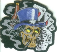 Skull Gambling With Top Hat Patch 3.25x3.5