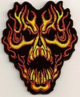 Skull Coming Out of Flames Patch 2.25x3