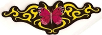 Butterfly Pink With Yellow Tribal Swirls Patch 12 x 4