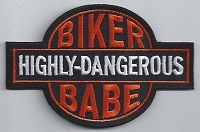 Highly Dangerous Biker Babe Patch 3.5