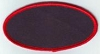 Blank Patch 4x2 Oval Black Background Red Border with Heat Seal