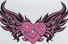 Love Heart With Wings - Pink Patch 12 x 7.62