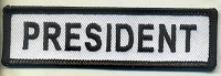 President Patch White with Black Border, Black Lettering, 4