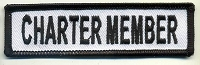 Charter Member Patch White with Black Border, Black Lettering, 4