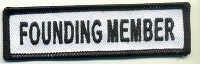Founding Member Patch White with Black Border, Black Lettering, 4
