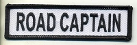 Road Captain Patch White with Black Border, Black Lettering, 4