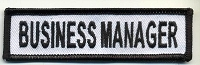 Business Manager Patch White with Black Border, Black Lettering, 4