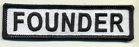 FOUNDER Patch White with Black Border Black Lettering 4
