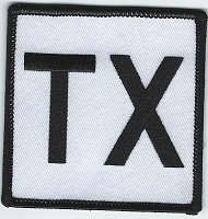 TX Patch White With Black Lettering and Black Border, Size: 3