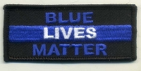 BLUE LIVES MATTER patch 3.5x1.5 with heat seal