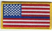 US Flag with Blue Line Gold Border 3.5 x 2