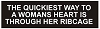 THE QUICKEST WAY TO A WOMENS HEART IS THROUGH HER RIBCAGE Helmet Sticker