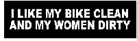 I Like My Bike Clean and My Women Dirty Helmet Sticker