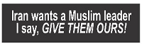 Iran Wants a Muslim Leader I Say Give Them Ours Helmet Sticker
