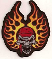 FLAME HELMET SKULL Patch 5.75 x 5.25