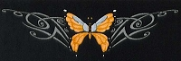 Tribal Butterfly Orange Patch 12 x 3.5
