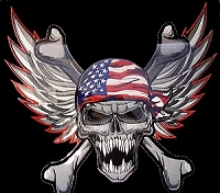 Winged USA Skull Patch 11.5 x 10.5
