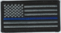 Subdued US Flag with Blue Line 3.5 x 2.25