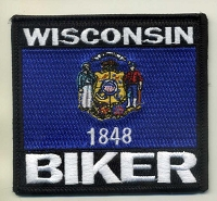 Wisconsin Biker Flag Patch 3.5x3.2
