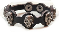 Skull Rivet Black Leather Bracelet 8